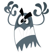 Cute cartoon scary ghost making a frightening attacking gesture