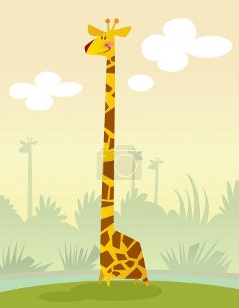 Smiling cartoon giraffe