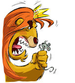 Cartoon lion holding a mouse frightening it