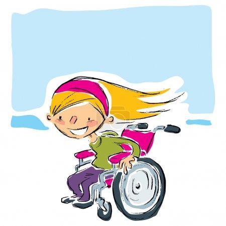 Illustration pour Joyeux dessin animé souriant fille blonde dans un fauteuil roulant magenta manuel se déplaçant rapidement - image libre de droit