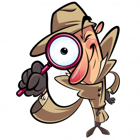 Illustration for Detective search looking through big lens - Royalty Free Image