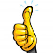 Thumbs up smiling yellow cartoon glove character in a hand