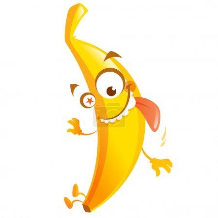 Crazy cartoon yellow banana fruit character go bananas