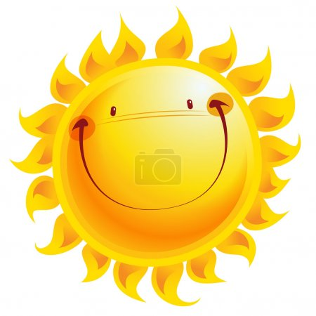 Illustration for Shining yellow smiling sun cartoon character as weather sign temperature - Royalty Free Image