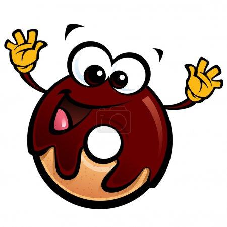 Illustration pour Dessin animé personnage de donut souriant heureux avec glace au chocolat faire un geste - image libre de droit
