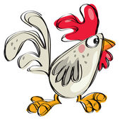 Cartoon baby chicken white any grey in a naif childish drawing style