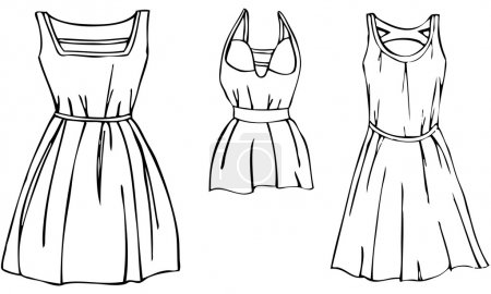 Vector Illustration Set of 3 Isolated Women's Stylish Fashion Summer Dresses