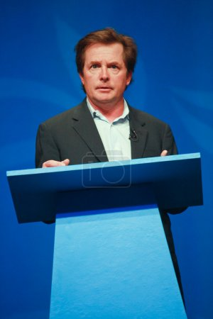 Actor Michael J. Fox delivers an address to IBM Lotusphere 2012 conference