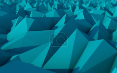 Photo for Abstract Blue Low Poly 3d Background with Depth of Field Effect - Polygonal Render - Raster Image - Royalty Free Image