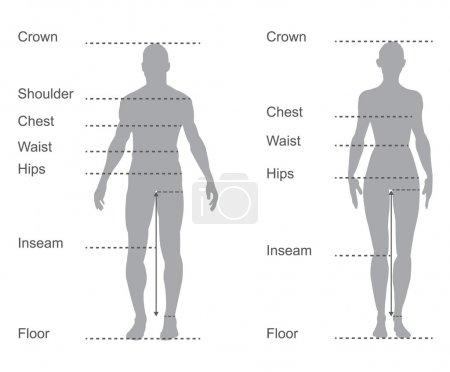 Size chart, measurement diagram