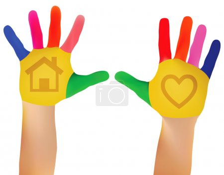 Illustration for Mesh Vector EPS - 10 Child hands painted in colorful paints ready for hand prints - Royalty Free Image
