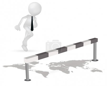 Illustration for EPS 10 Vector Illustration of 3d business man running to jump through a barrier - Royalty Free Image