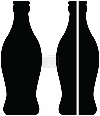 Stock vector bottle of coke in black over white