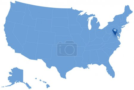 Map of States of the United States where Federal District of Columbia, Washington, D.C. is pulled out