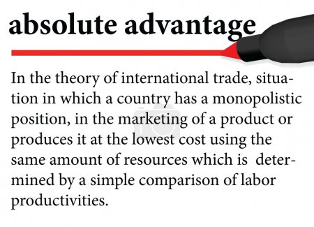 """Illustration of dictionary definition of the term """" absolute advantage """" isolated on white background"""