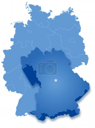 Political map of Germany with all states where Bav...