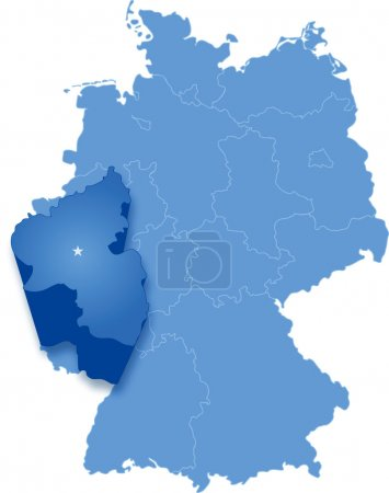 Political map of Germany with all states where Rhi...