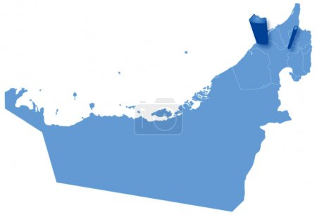 Map of United Arab Emirates where Ajman is pulled out