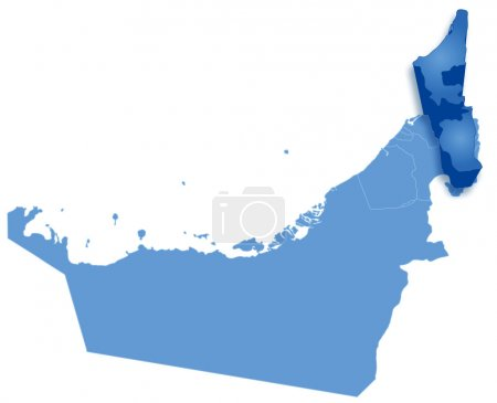 Map of United Arab Emirates where Ras al -Khaimah is pulled out