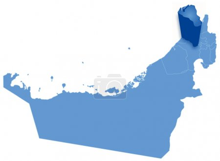 Map of United Arab Emirates where Umm al -Quwain is pulled out