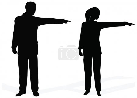 Illustration for Side view of bsuiness people pointing out at copyspace, over white background - Royalty Free Image