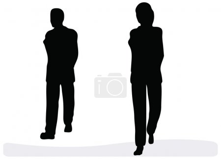 Business man and woman walking - isolated over a white background