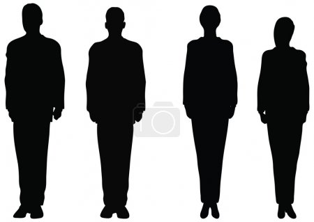 Business people standing still in silhouette