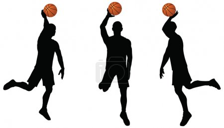 basketball players silhouette collection in slam position