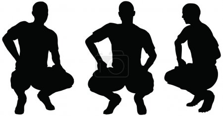 Poses of soccer players silhouettes in sitting position