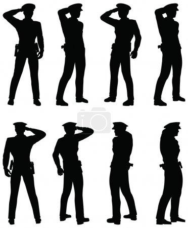Illustration pour EPS 10 Vecteur de Soldat, officier, capitaine, policier saluant - image libre de droit