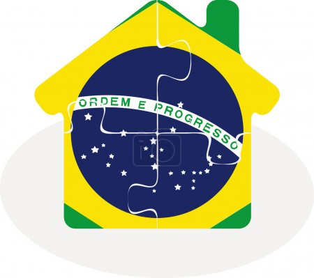 House home icon with Brazil flag in puzzle