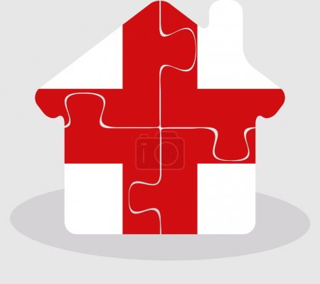 House home icon with England flag in puzzle