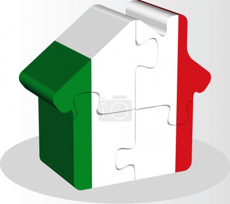 Illustration for Vector illustration of house home icon with Italy flag in puzzle isolated on white background - Royalty Free Image
