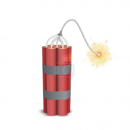 Dynamite pack with burning wick...