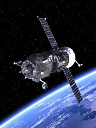 "Spacecraft ""Progress"" Orbiting Earth."