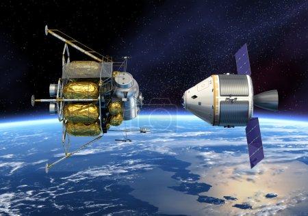 Crew Exploration Vehicle Orbiting Earth.