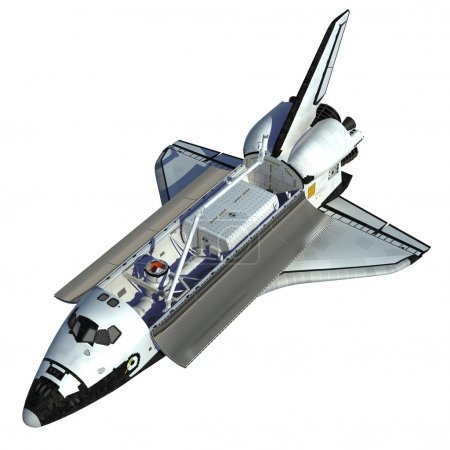 Space Shuttle On White Background.