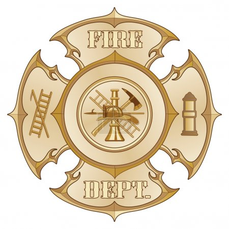 Fire Department Cross Vintage Gold