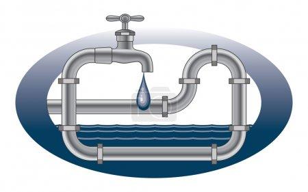 Illustration pour Illustration d'une conception de plomberie avec robinet égouttant, tuyaux et eau . - image libre de droit