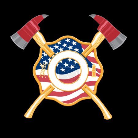 Firefighter Cross With Axes has an embedded flag with crossed axes behind it on a black background. Easy to edit and separate nine color illustration.