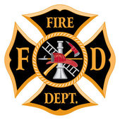 Fire Department Maltese Cross Vintage is an illustration of a vintage fire department Maltese cross with full color firefighter logo inside