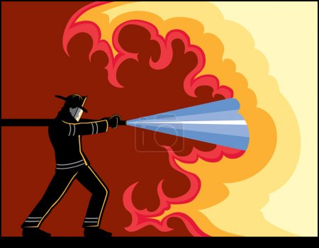 Illustration of Fire Fighter fighting fire....