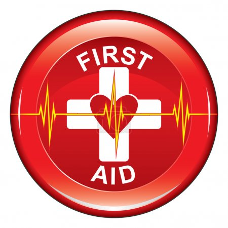 Illustration for Illustration of a first aid health icon or medical symbol with heart and heartbeat line on a button. - Royalty Free Image