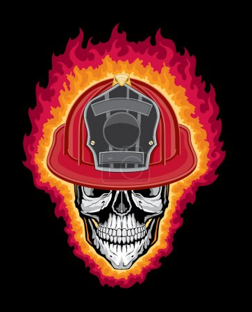 Flaming Firefighter Skull And Helmet