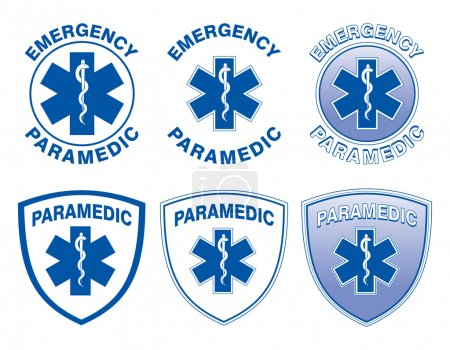Illustration for Illustration of six emergency paramedic designs with star of life medical symbols. - Royalty Free Image