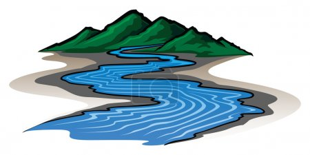 Illustration of a graphic style mountain range and...