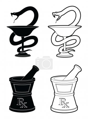 Illustration for Illustration of pharmacy symbols. One is the Snake and cup symbol and the other is the mortar and pestle symbol. In simple black and white graphic style. - Royalty Free Image