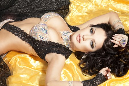 beautiful slim woman belly dancer
