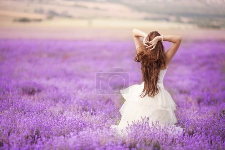 Beautiful Bride in wedding day in lavender field