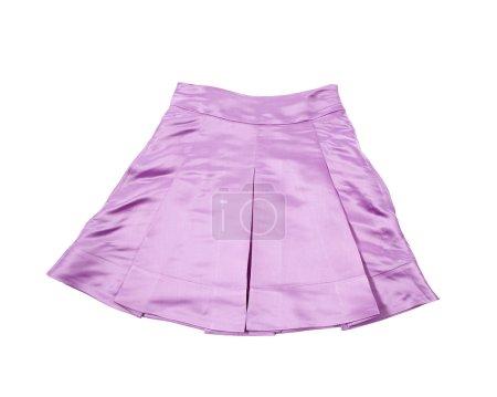 Satin pleated purple miniskirt